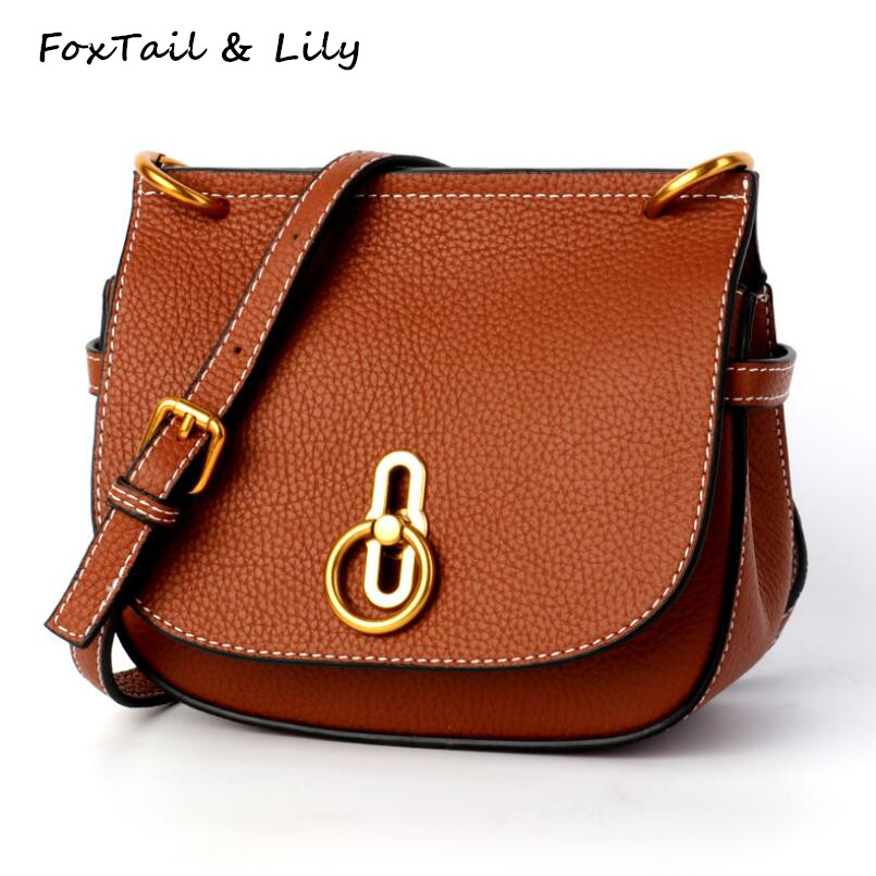 FoxTail & Lily Women Saddle Bag Genuine Leather Fashion Girl Shoulder Messenger Bags All match Daily Mini Small Crossbody Bag