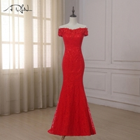 ADLN Cheap Mermaid Evening Dresses Off The Shoulder Sleeveless Lace Formal Prom Gown Floor Length Party