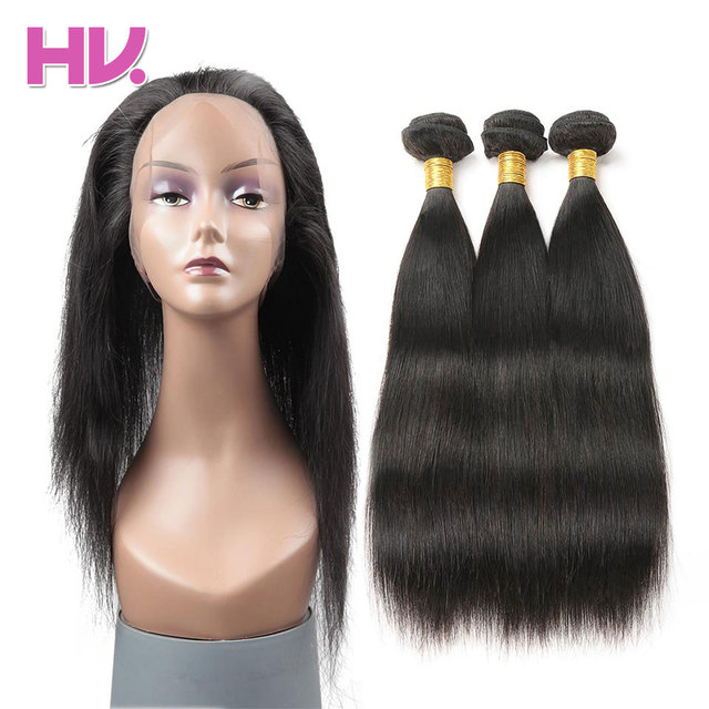 Hair Villa Remy Straight Hair 3 Bundles With Closure Salon Brazilian