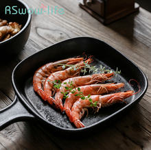 Черное керамическое блюдо плоское дно с защитой от царапин и