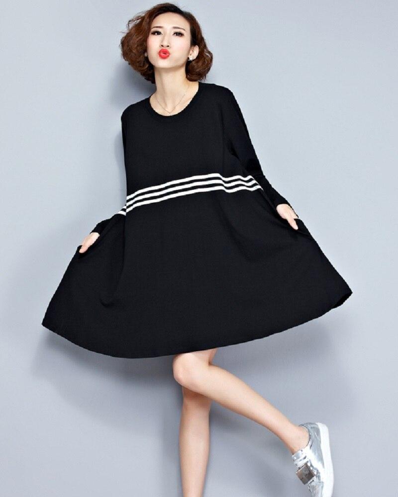 Black dress korean - 2017 Spring Autumn Women Big Size Mini Dress Korean Style Cotton Long Sleeve Tunic Casual Loose Black T Shirt Femme Robe Dress