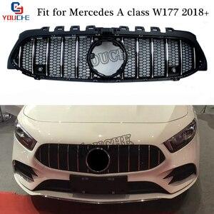 Новый класс W177 Решетка переднего бампера сетка для Mercedes W177 A180 A200 A250 A45 AMG 2018 2019 серебристый/черный гоночный автомобиль Стайлинг