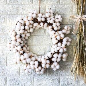 Image 5 - Couronne de fleurs sèches en coton vraies, décoration pour couronne de noël en rotin faite main, pour fêtes, Festival, mariage, pour maison, D19 pouces