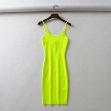 Summer Fluorescence Stretch Knitting Mini Dress Women Sexy Party Dresses Vestidos Femme Slim Spaghetti Straps