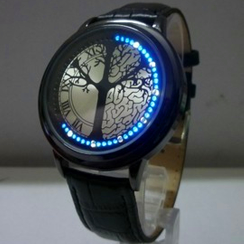 Творческая Личность Минималистский Кожа Нормальная Водонепроницаемые СВЕТОДИОДНЫЕ Часы Мужчины И Женщины Пара Часы Smart Electronics Часы