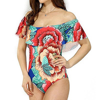 2017 Newest Women Sexy Floral Off Shoulder Swimwear Ruffle Female Bathing Suit Monokini Thong Swimwear One