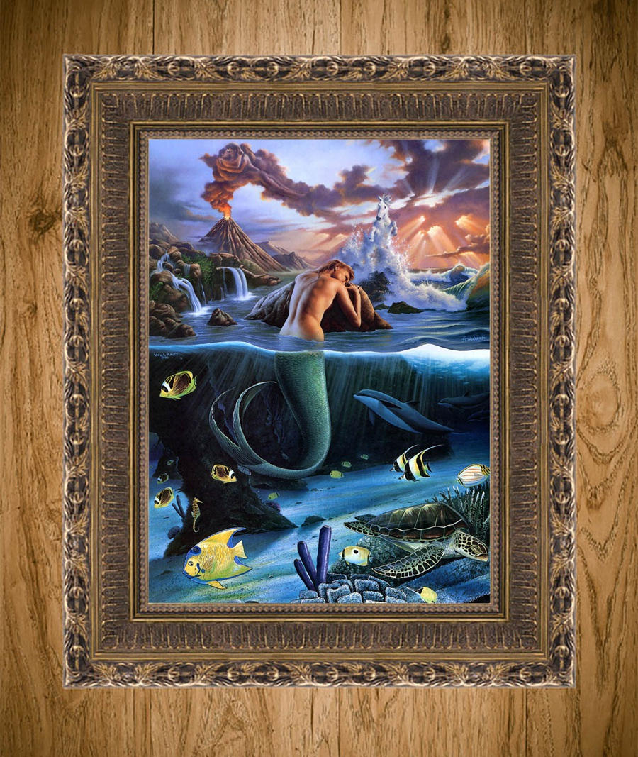 "Jim Warren Mermaids HD Canvas Print 18/""x24/"" Home Decor Painting Wall Picture"