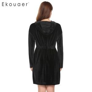 Image 5 - Ekouaer Women Robe Kimono Long Sleeve Velvet Hooded Solid Bathrobes Nighties Sleepwear Robe Dressing Gown Female Nightwear