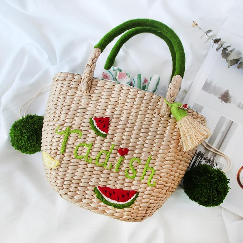 Customized name on bag 2018 summer new beach bag female imitation grass women bag female rattan bag ball tassel for trip travel beach trip