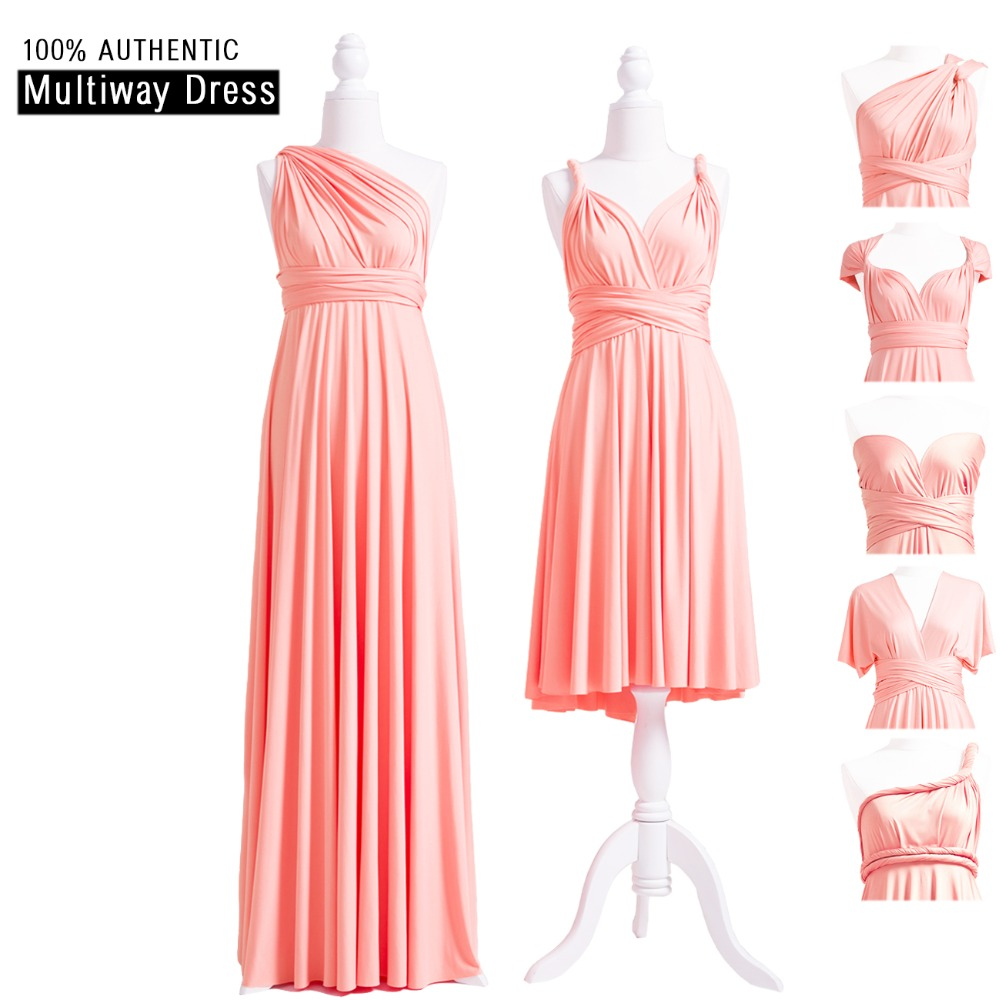 Peach Coral Bridesmaid Dress Long Infinity Wrap Dress MultiWay Dress Peach Pink Convertible Dress With One Shoulder Straps Style