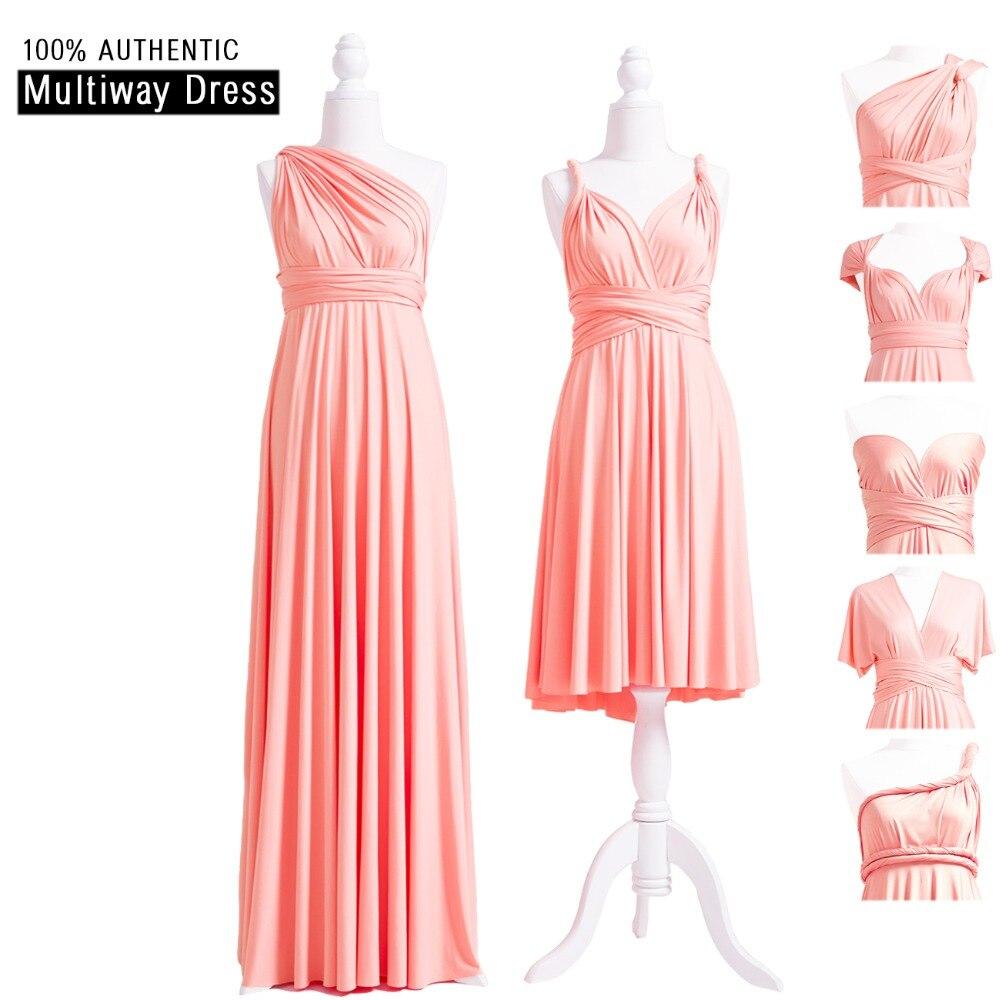 Peach Coral Bridesmaid Dress Long Infinity Wrap Dress Multiway