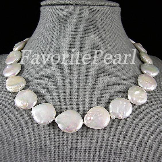 Collier de perles-très grande pièce de monnaie perle 20-21mm AA 18 pouces couleur blanche pièce de monnaie forme dame bijoux demoiselle d'honneur cadeau de mariage
