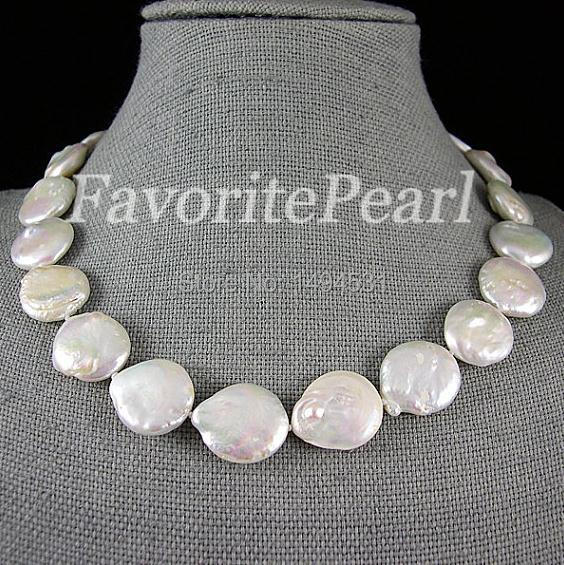Pearl Necklace - Very Big Coin Pearl 20-21mm AA 18 Inches White Color Coin Shape Ladys Jewelry Bridesmaid Wedding GiftPearl Necklace - Very Big Coin Pearl 20-21mm AA 18 Inches White Color Coin Shape Ladys Jewelry Bridesmaid Wedding Gift