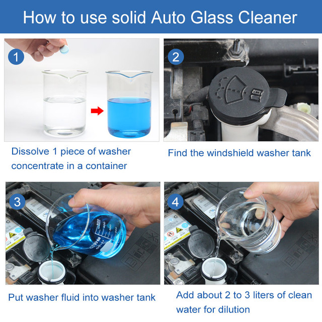 Solid Washer Concentrate Making Up Windshield Washer Fluid Screen Wash Wiper Fluid Car Solid Cleaner ( 6 pcs / Pack )