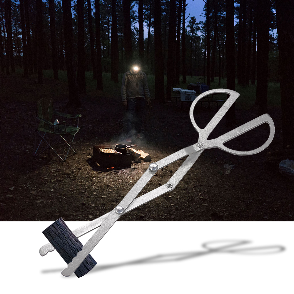 US $4 3 37% OFF|Ultralight Portable Folding Log Grabber Tweezers Tongs  Tools Hiking Traveling Picnic BBQ Clip for Wood Stove Outdoor Camping-in