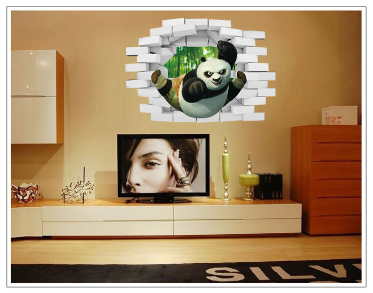 Panda 3d poqiang three dimensional wall stickers decorative wall stickers manufacturers wholesale nursery children room