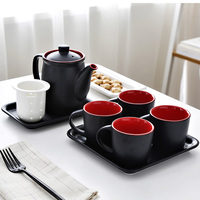 2018 Simple elegant ceramic coffee cup set British tea with tea leakage European afternoon tea set with tray