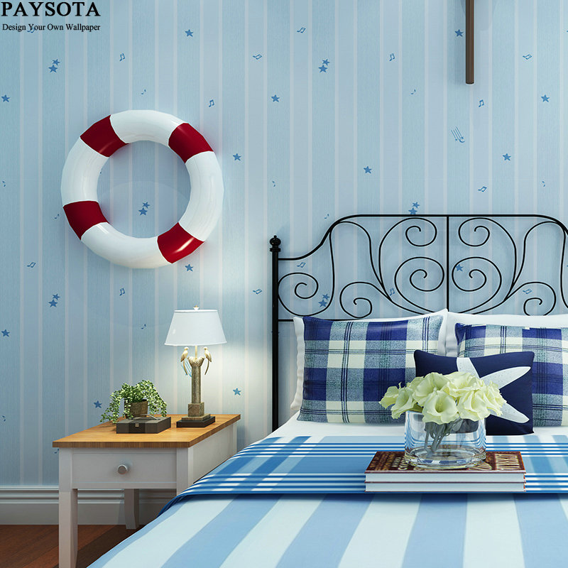 Papier Peint Papel Pintado Paysota Children Room Wallpaper Lovely Stars Boy And Girl Bedroom Environmental Non-woven Wall Paper beibehang wallpaper high grade environmental protection non woven wallpaper girl boy room room striped wall paper car children