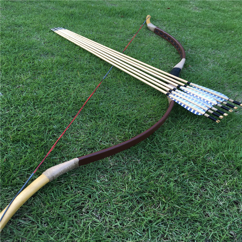 20 60lbs handmade Leather bow longbow outdoor in hunting for lovers 6 woodenarrow