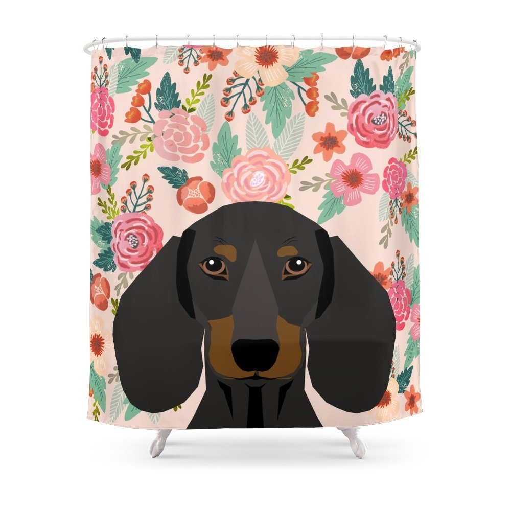 Dachshund Cute Pet Gifts Black And Tan Dachshund Gifts For Dog Lover With Dog Shower Curtain Custom Curtain For Bathroom