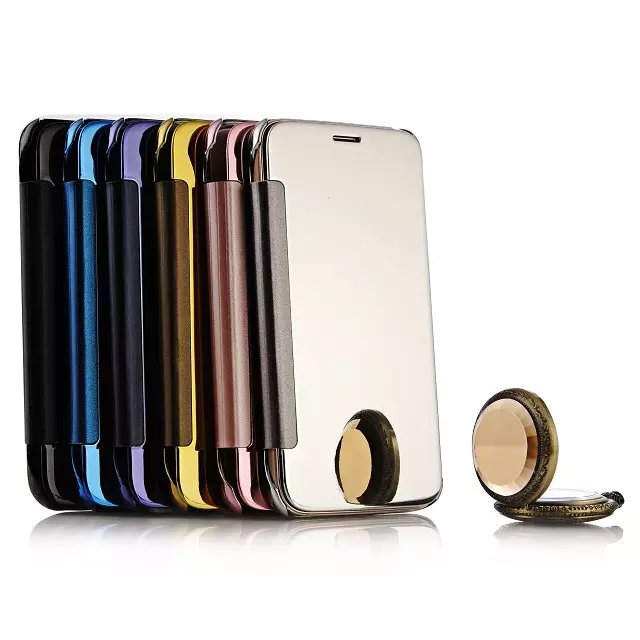 Luxury For Huawei Ascend G7 Plus Smart Plating Mirror PU Leather+Hard Plastic Flip Cover For Huawei G8 D199 Cases Fundas Capa