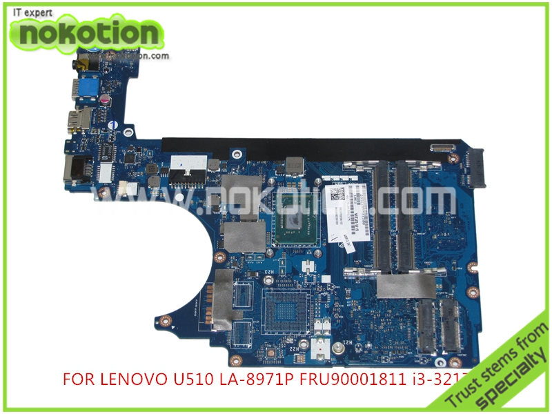 NOKOTION FRU 90001811 VITU5 LA-8971P For lenovo U510 laptop mainboard Core I3-3217U Intel HM76 HD4000 7xinbox 15 2v 50wh laptop battery for lenovo asm p n sb10f46441 fru p n oohw003 4icp5 58 73 2