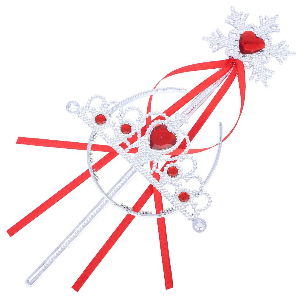 Children Queen Crown Charm Hairbands Ribbon Toy Snowflake Magic Wand Kids Birthday Gift 8 Colors Rhinestone Head Jewelry XRN160