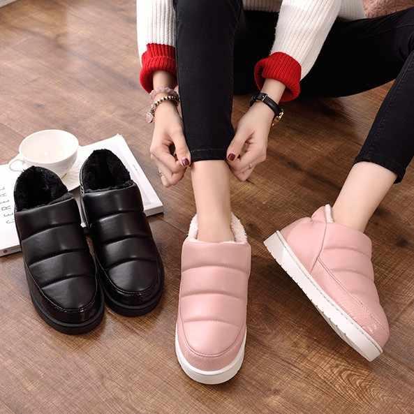 Для женщин домашние сапожки зимние теплые зимние ботильоны плюшевые  водонепроницаемая обувь женские розовые Черная роза домашняя c3e60c598e6
