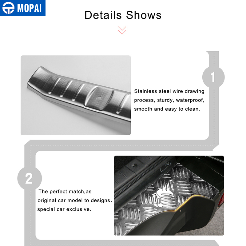 Image 4 - MOPAI Steel Door Sill Scuff Plate Car Interior Rear Bumper Protector Rear Inner Guard Plate for Suzuki Jimny Car Accessories-in Chromium Styling from Automobiles & Motorcycles
