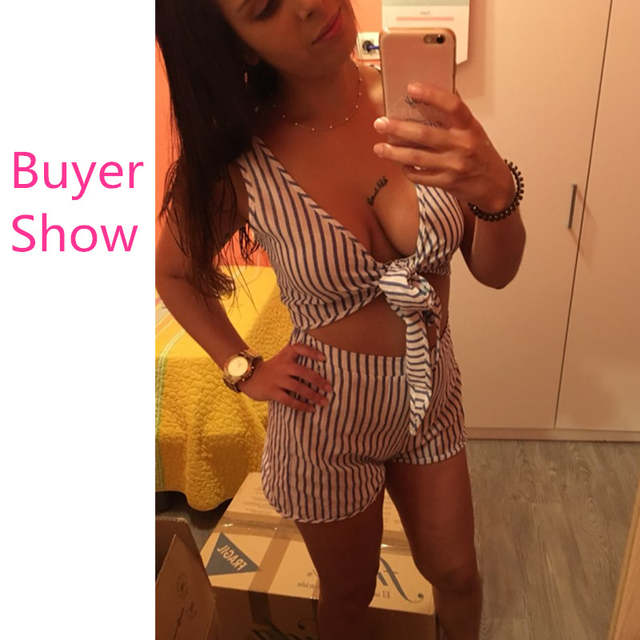9d016282999e Two Piece Set Blue Striped Playsuits Beach Casual Short Pants Jumpsuit  Rompers Sexy Sleeveless V Neck