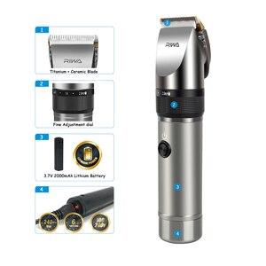 Image 5 - Riwa profesyonel saç kesme makinesi 2000mAh lityum pil alüminyum 100 240V saç kesme makinesi X9 saç düzeltici saç tıraş makinesi