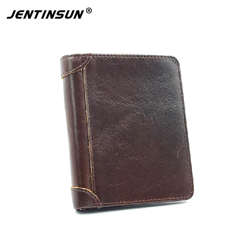 Genuine Leather Wallet Vintage Bifold Short Mens Wallet RFID Blocking Men Wallets With Coin Pocket Purse Card ID Holder For Male