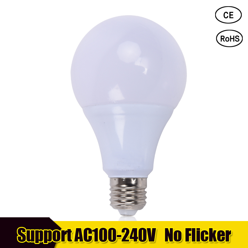 LED Bulb E27 3W 5W 7W 9W 12W 15W 18W SMD 2835 Real Power Led Light Bulb AC 110V 220V Cold Warm White Led Spotlight Lamp 5w smd 2835 e14 lamp tubes led light warm white cold white e 14 led candle 220v led lamp free shipping