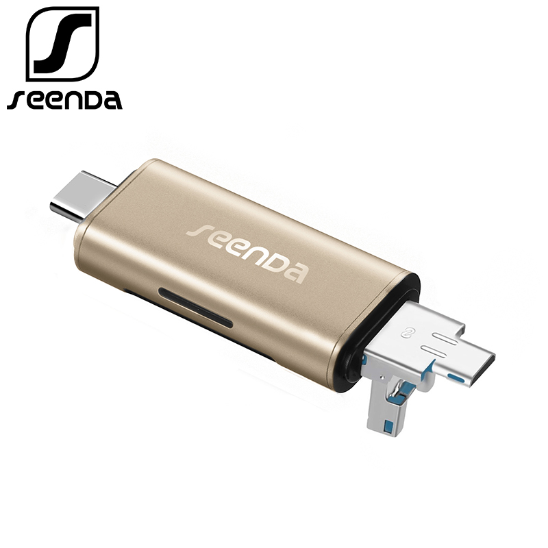SeenDa All In 1 USB 3.0 Type-C Metal Card Reader High Speed SD TF Micro SD Card Reader Micro USB Multi Memory OTG Card Reader multi in 1 micro usb otg 2 0 hub sd hc tf card reader mobile phone stand champagne