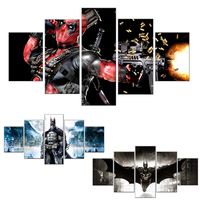 Canvas Painting Unframed 5 Pieces Canvas Prints Pictures For Living Room Cartoon Batman Joker Deadpool Home