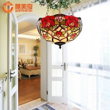16 polegada Tiffany estilo Europeu jardim quarto luz pingente sala de jantar lâmpada bar pendurado luz