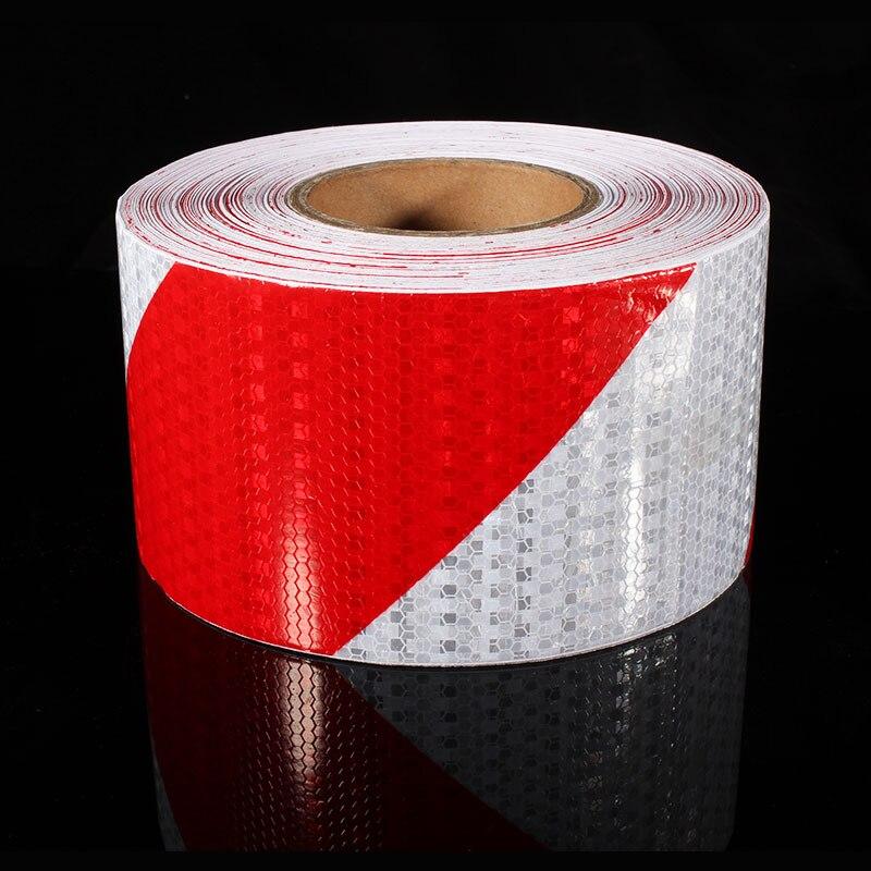 10 cm x 10 m marca de segurança reflexivo fita adesivos vermelho branco diagonal tira motocicleta adesivos automóveis moto material reflexivo