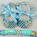 2014 top fashion baby Blue shoes with bow tie / soft baby girl shoes / free hair loop / first walkers fit baby 0-1age