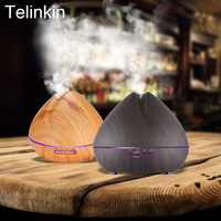 400ml Aroma Essential Oil Diffuser Ultrasonic Air Humidifier With Wood Grain 7Color Changing LED Lights For
