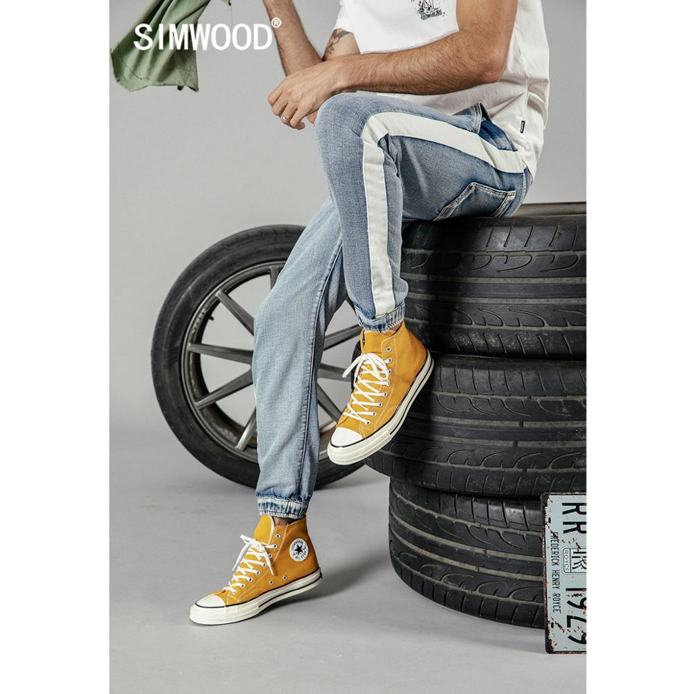 SIMWOOD 2019 Autumn New Jeans Men Fashion Drawstring Contrast Piping Track Ankle-length Fashion Thin Jeans Denim Pants 190210