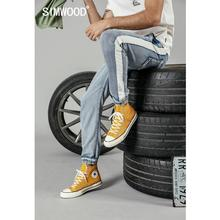 SIMWOOD 2019 summer new jeans men fashion drawstring contrast piping track ankle-length fashion thin jeans denim pants 190210