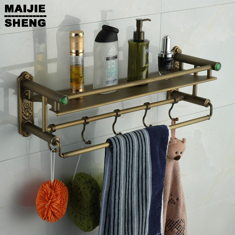 shelf with hooks basket for bathroom holder Bathroom antique brass bathroom shelf with green stone towel holder bathroom antique double brass bathroom shelf with green stone towel holder bathroom shelf with hooks basket for bathroom holder ssl s49