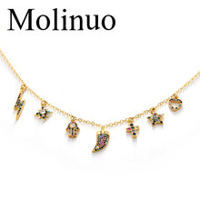 Molinuo Exquisite cute charm cz pendant Necklace star cross lightning evil eye love heart Accessories necklace for Women gift