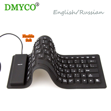 Hot!!!DMY 2016 English/Russian wired Keyboard Waterproof folding Portable Silicone for laptop notebook, Desktop Compute