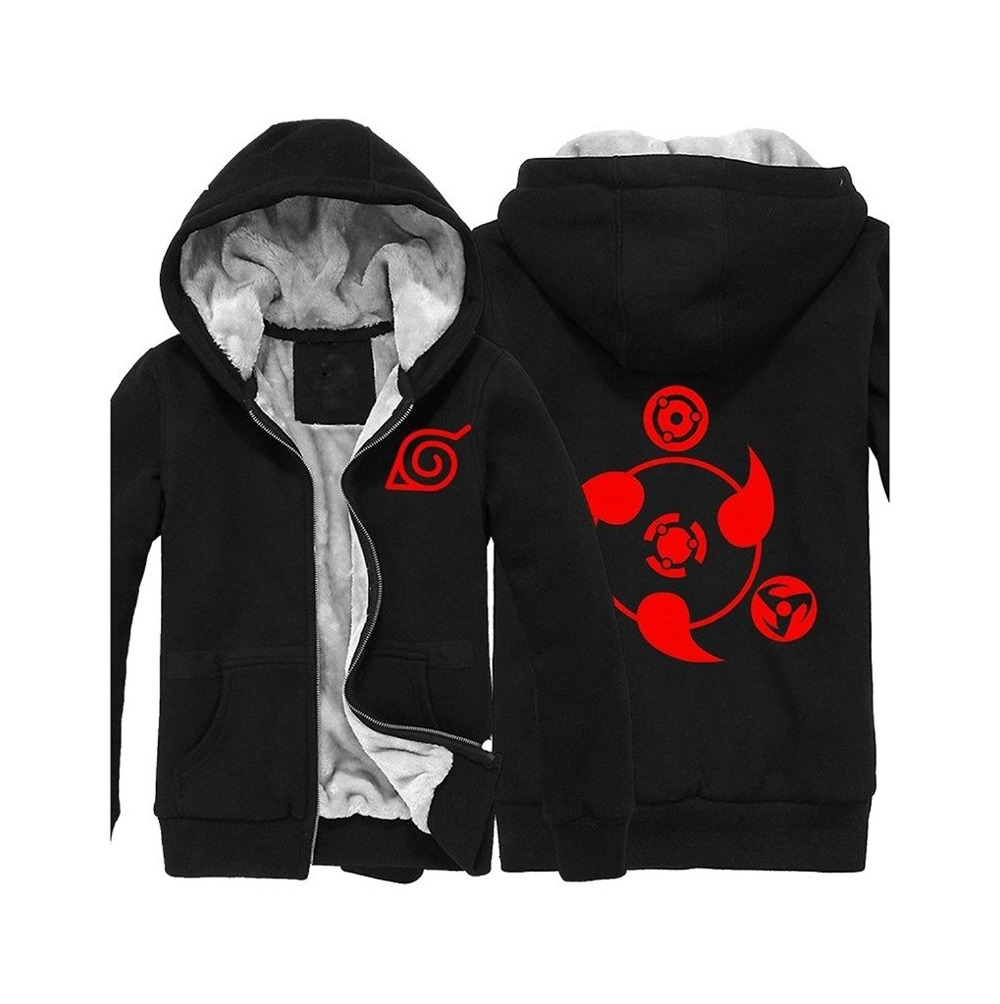 Anime Naruto Hoodie Naruto Sasuke Uchiha Hoodie Thickness Jacket Hooded Sweatshirt Hoodie Naruto Cosplay Hoodies Black Adult Men