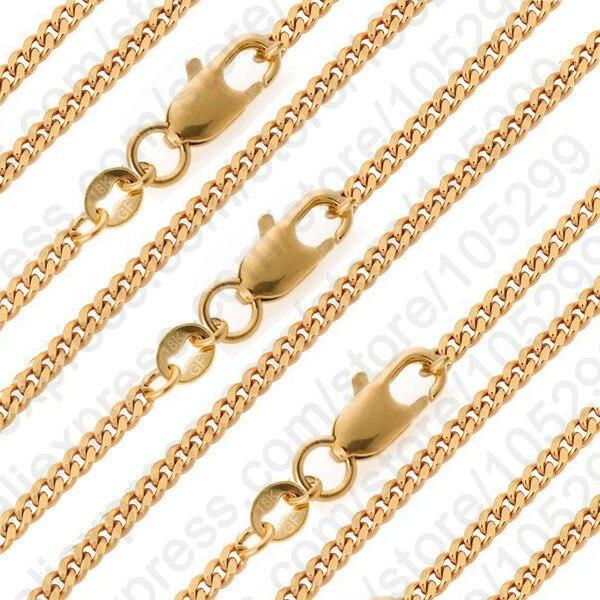 13e289a5982d1 PATICO لطيفة 10 قطعة GF قلادة سلسلة 16-30 الذهب الأصفر معبأ سلسلة كبح شقة  قلادة مجموعات من قلادة الرجال المجوهرات هدية