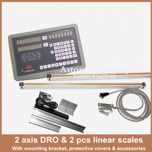 Free Shipping 2 axis digital readout DRO for milling lathe machine with high precision linear scale / linear encoder