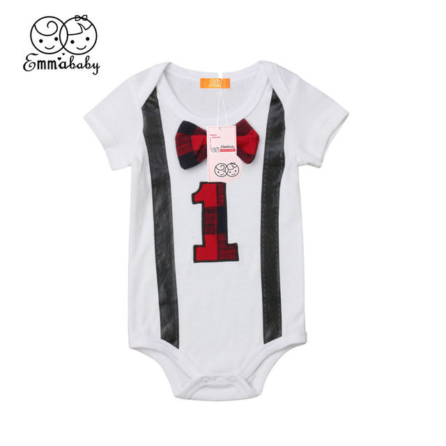 d0742b640e56 Infant Baby Boy Bodysuit My First Birthday Party Outfit Toddler Kid ...