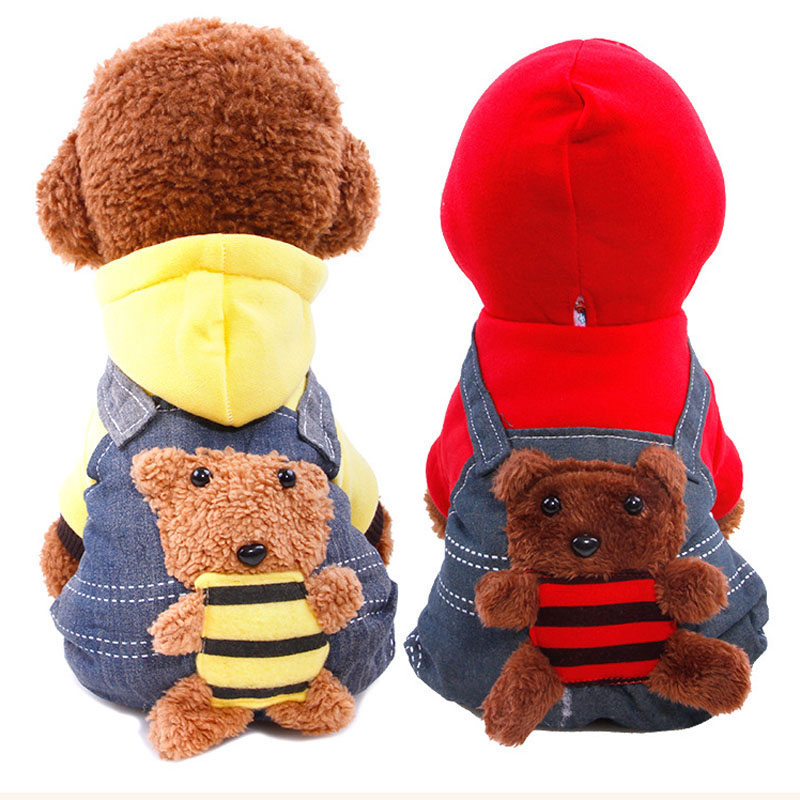 Cowboy Cartoon Dog Jumpsuit Cotton Small Bear Pattern Strap Pet Clothes Pajamas England Style Hoodie Coat Costume Chihuahua
