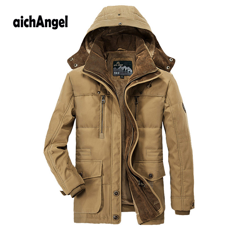 Winter Jacket Men Warm Coat Mens Parkas Zipper Stand Collar Jacket Plus Size Fleece Cotton Padded Military Overcoat in Jackets from Men 39 s Clothing